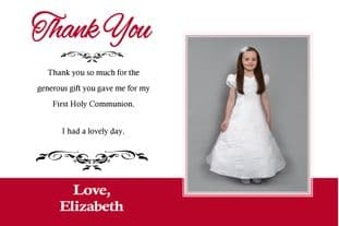 Personalised Girl Communion OR Confirmation Photo Thank You Card Design 1