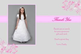 Personalised Girl Communion OR Confirmation Photo Thank You Card Design 3