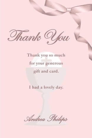 Personalised Girl Communion Thank You Card Design 4