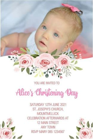 Personalised Girl Photo Floral Christening Invitations