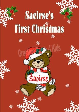 Personalised Girl Teddy First Christmas Card