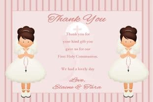 Personalised Girl Twins Communion Thank You Cards