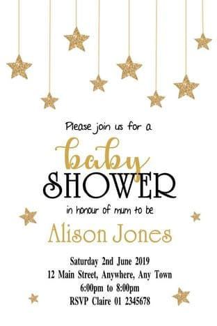 Personalised Gold Dropping Stars Baby Shower Invitations