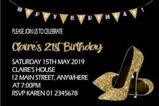 Personalised Gold Shoes Birthday Invitation