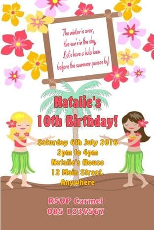Personalised Hawaiian Theme Invitations Design 1