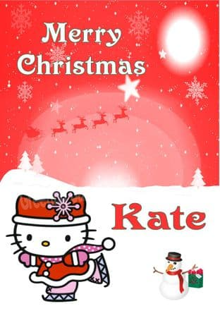 Personalised Hello Kitty Christmas Card 1