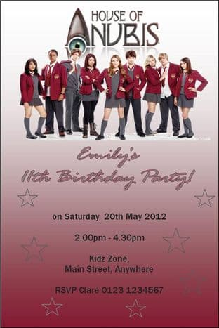 Personalised House of Anubis Invitations