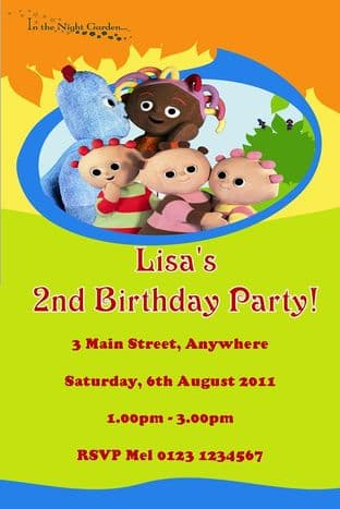 Personalised In the Night Garden Invitations