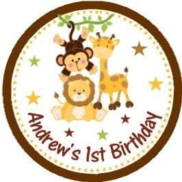 Personalised Jungle Animals Party Stickers Design 1