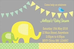 Personalised Lemon & Green Elephant Baby Shower Invitations