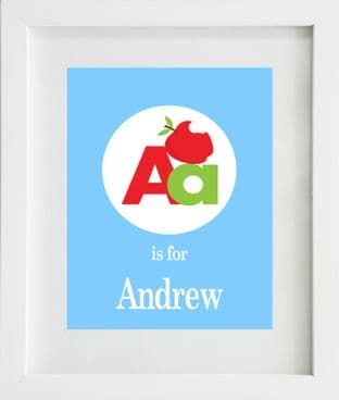 Personalised 'Letter is for' Circle Boys Print