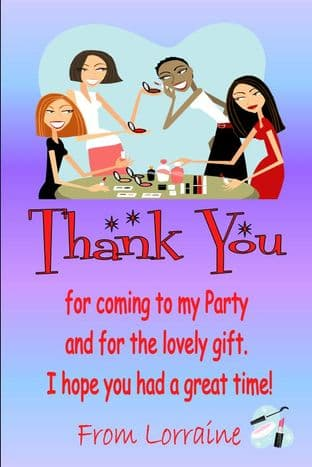 Personalised Make Up Party Theme Thank You Cards