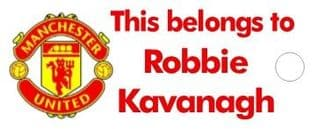 Personalised Manchester United FC Keyring School Bag Name Tag