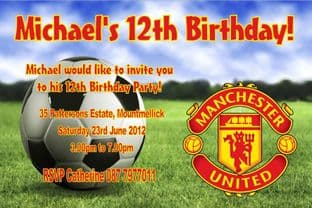 Personalised Manchester United Football Invitations