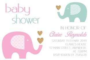 Personalised Modern Pink & Blue Baby Shower Invitations