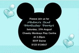 Personalised Mouse Ears Invitation Boy