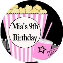 Personalised Movie Night Party Stickers 2