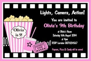Personalised Movie Theme Invitations