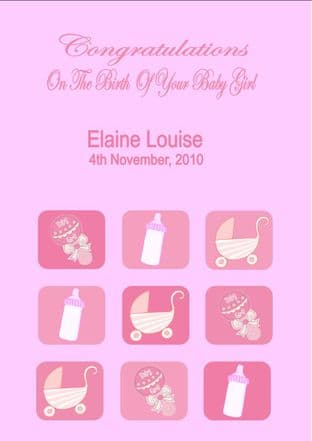 Personalised New Baby Girl Card Design 2