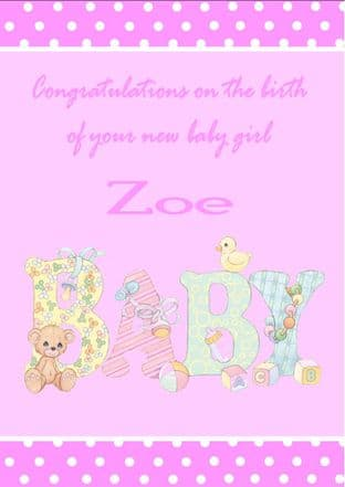 Personalised New Baby Girl Card Design 3