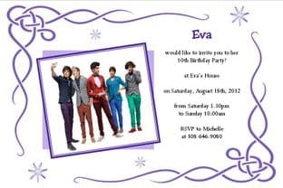 Personalised One Direction Invitations Design 2