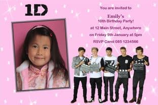 Personalised One Direction Photo Invitations