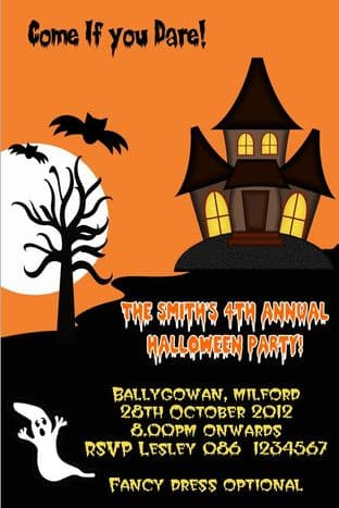 Personalised Orange Black Haunted House Halloween Invitation