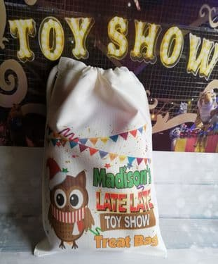 Personalised Owl Late Late Toy Show Drawstring Treat Bag