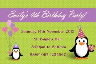 Personalised Penguin Theme Invitations