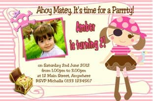 Personalised Photo Girl Pirate Invitations
