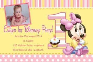 Personalised Pink 1st Birthday Minnie Mouse Photo Invitations