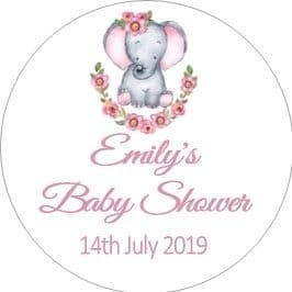 Personalised Pink Baby Elephant Baby Shower Party Stickers