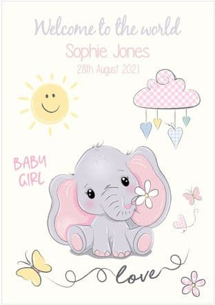 Personalised Pink Baby Elephant New Baby Card (1)