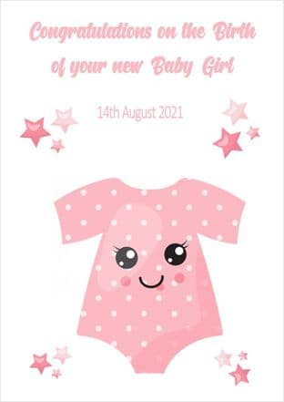 Personalised Pink Baby Vest New Baby Card