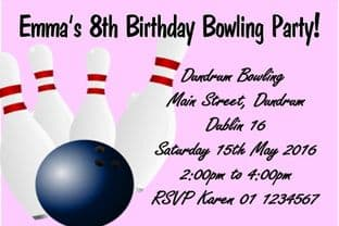 Personalised Pink Bowling Theme Invitations