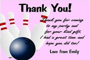 Personalised Pink Bowling Theme Thank You Card