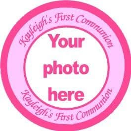 Personalised  Pink Photo Communion Cake Topper