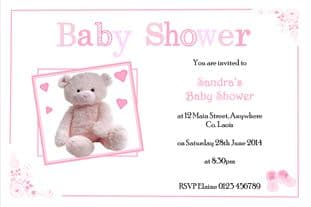 Personalised Pink Teddy Baby Shower Invitations