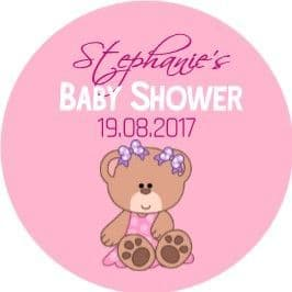 Personalised Pink Teddy Bear Baby Shower Party Stickers