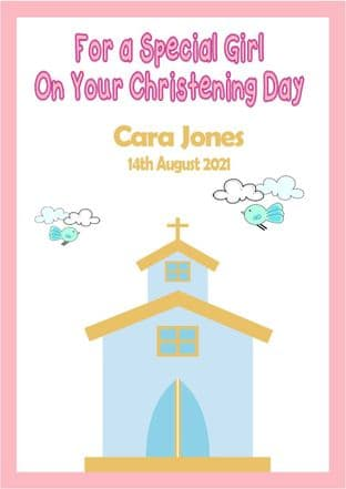 Personalised Pink Text Church Christening Card