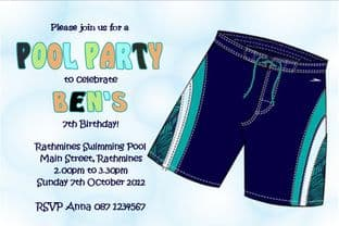 Personalised Pool Party Boy Invitations Design 2