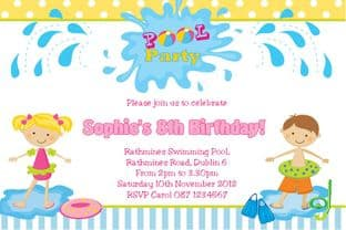 Personalised Pool Party Girl Invitations