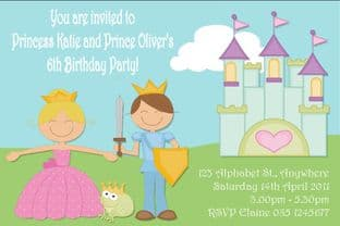 Personalised Prince and Princess Invitations
