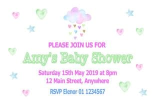 Personalised Raining Hearts Baby Shower Invitations