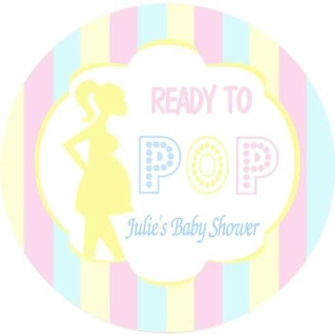 Personalised Ready to Pop Blue Pink Lemon Baby Shower Party Stickers