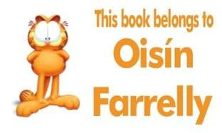 Personalised Rectangle Garfield School Book Stickers