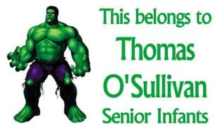 Personalised Rectangle Incredible Hulk School Book Stickers