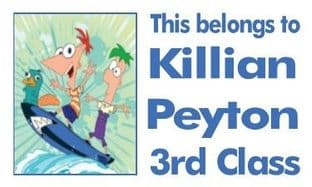 Personalised Rectangle Phineas and Ferb School Book Stickers