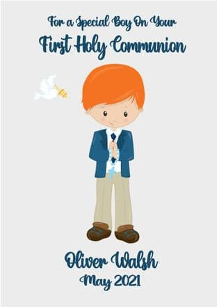 Personalised Red Hair Boy Communion Card 2