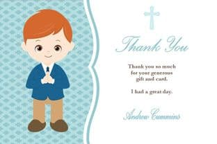 Personalised Red Hair Boy Thank You Card Design